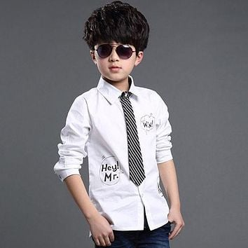 2015 New 3Designs Kids Formal Dress Shirts with Tie for Boys Brand Preppy Style Letter Print Big Boys Formal Wedding Shirts C012