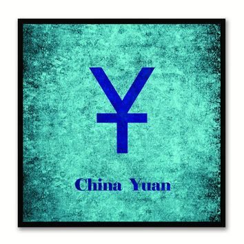 China Yuan Money Currency Aqua Canvas Print with Black Picture Frame Home Decor Wall Art Collection Gifts