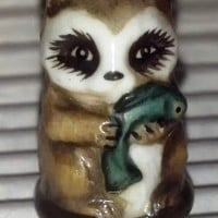 Raccoon Vintage Franklin Mint FP Friends of the Forest Thimble Porcelain 1982