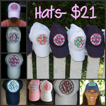 Preppy Applique Patch Monogrammed Baseball Cap by rollerm on Etsy