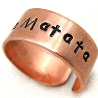 Hakuna Matata Bright Copper Hand Stamped Ring