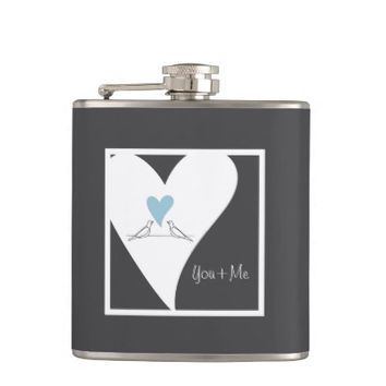 Cute White Doves in Love Personalized Girly Drinking Flasks for Women or Couples: You & Me : Wedding Gift