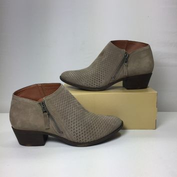 Lucky Brand Women's Beige Brielley Perforated Bootie, Size 9M