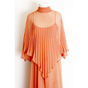 1970's Pleat Cape Long Evening Dress