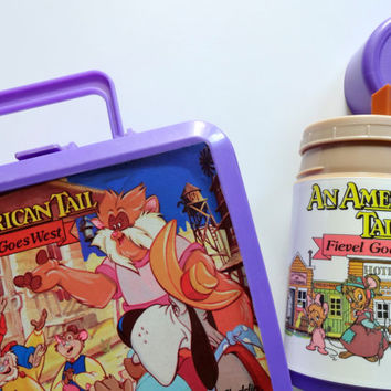 Vintage Fievel Goes West Lunchbox and Thermos 1991