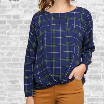 Plaid Gathered Print Top - Navy - S, M, 1X & 2X
