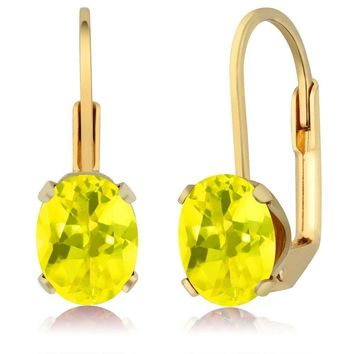3.20 Ct Oval Shape Canary Mystic Topaz Yellow Gold Plated Brass Dangle Earrings