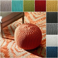 India Artisan Cotton Weave Boho Pouf Ottoman
