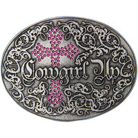 "Montana Silversmiths ""Cowgirl Up"" Attitude Buckle with Pink Rhinestone & Gothic Cross (A202RTS)"