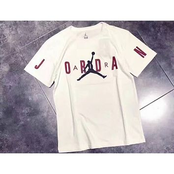 AIR JORDAN 2018 new couple leisure casual T-shirt F-CN-CFPFGYS White