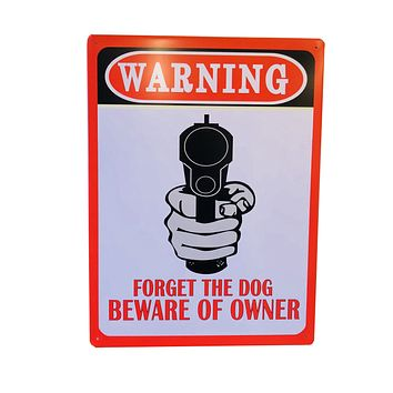 WARNING Beware of Owner Tin Poster