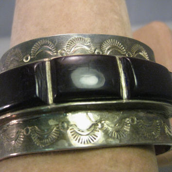 Vintage Sterling Silver Old Pawn Cuff Bracelet, Southwestern/Native American, Wide, Sugilite Stones