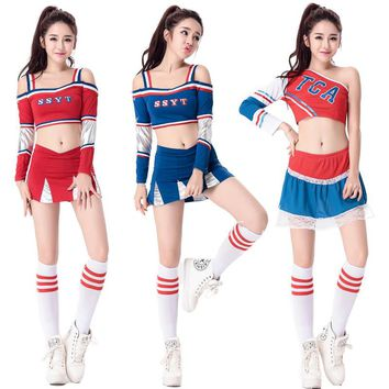 SSYT Sexy High School Cheerleader Costume Girl Baseball aerobics dance Cheer Girls Race Car Driver Uniform Party Tops and Skirt