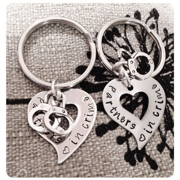 Personalized Hand Stamped Best Friend Partners in Crime Handcuffs Keychains