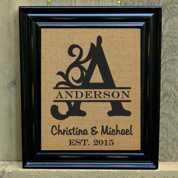 Burlap Monogram Print, Personalized Sign, Last Name Sign, Established Sign, Burlap Sign, FREE Priority Shipping!