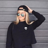 Alien Embroidery Pullover Crop Sweatshirt