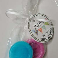 Button Baby Shower Favor - Gender Reveal Party Favors for Baby Showers Button Theme Custom Made Bags & Personalized Tags, Pack of 10