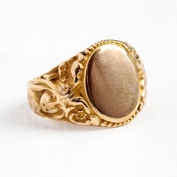 Art Nouveau Ring - Antique Men's Rosy Yellow Gold Filled Blank Signet - Size 9 3/4 Vintage Edwardian 1910s Repousse Woman Flowers Jewelry