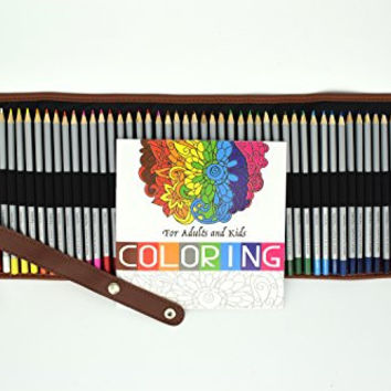 48 Premium Colored Pencils with Canvas Roll Up Bag and Coloring Book - Non-Toxic and Eco-Friendly Coloring Set