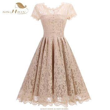 SISHION Beige Lace Dress Work Casual Slim Fashion O-neck Sexy Hollow Out Women A-line Vintage Vestidos Elegant Party Dress