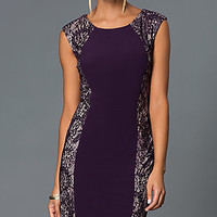Lace Embellished Knee Length Sleeveless Dress by Morgan
