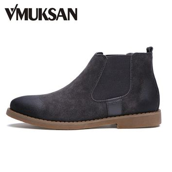 VMUKSAN Brand Chelsea Boots Men Warm Plush Winter Shoes For Men Moc Toe Fashion Boots Casual