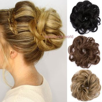 US Curly Messy Bun Hair Piece Scrunchie Updo Cover Hair Extensions AS Human NCW