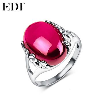 EDI 925 Sterling Silver Wedding Rings for Women Pink Natural Gemstones Ruby Thai Silver Rings Fine Jewelry
