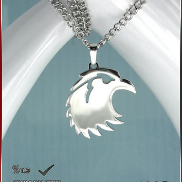 FREE SHIPPING     Axcesi (861UZ) Hawk symbol stainless steel pendant 26mm X 26mm + S.steel chain or Black cord necklace