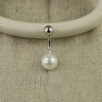 belly button jewelry pearl bellyring 14g belly button ring,pearl bead belly ring,belly piercing