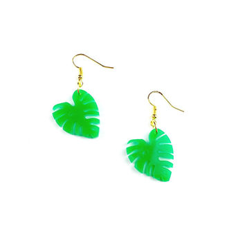 Cheese Plant Earrings - Cheese Plant, Monstera Deliciosa, Cheese Plant Jewelry, Leaf Earrings, Plant Jewellery, Plant Earrings