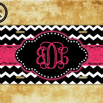 Monogrammed car tag, plate monogram license - Black chevron with hot pink - car tag monogrammed, vanity license plate (1032)