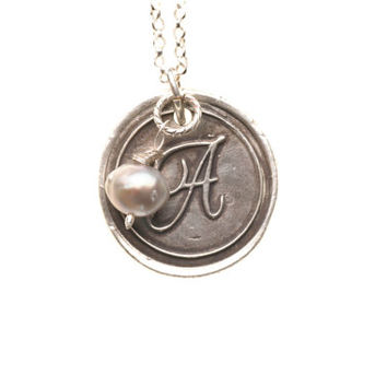 Fine Silver Monogram Pendant with Wire Wrapped Pearl