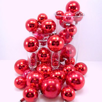 46 Red Vintage Mercury Glass Christmas Holiday Tree Ornaments