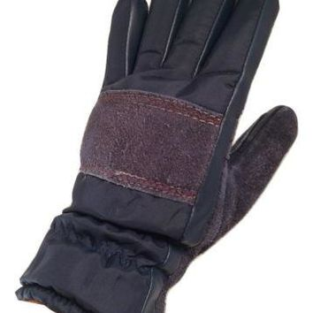 Vintage Aris Gloves Suede Leather Navy Blue Nylon Suede