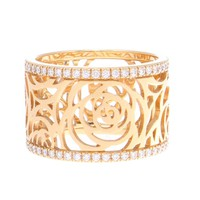 Chanel Camellia Ajoure Wide Diamond Gold Band Ring