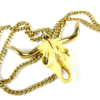 Vintage Texas Longhorn Skull Necklace - Collier Taureau. Vintage Jewelry by My Chouchou.