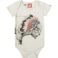 Tukota Bison Short Sleeve Bodysuit Oatmeal | Baby Bodysuits and Jumpsuits | Rock Your Baby