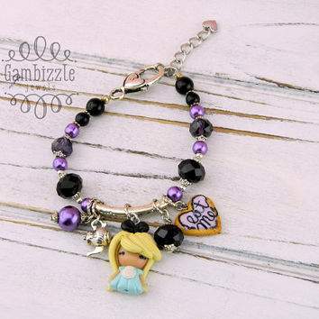 Alice in Wonderland bracelet, Alice in Wonderland jewelry, Alice clay charms, Alice bracelet