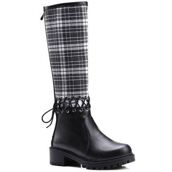 Splicing Plaid Pattern Criss-Cross Boots - Red 39