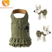 Jean Dog Vest Harness Puppy Cat Denim Skull Chest Army Green Short Dress For Small Dogs Yorkies Teddy Pets Clothes DOGGYZSTYLE