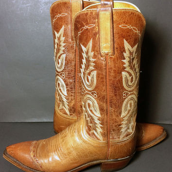 Lucchese 1883 Brown Lizard Leather Western Cowgirl Cowboy Boots Women's Size 7.5