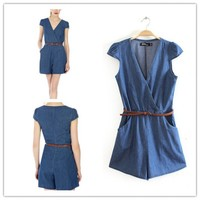 Women : Denim short sleeve jumpsuit playsuit ghl1034