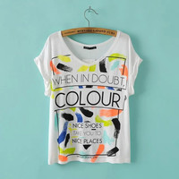 Summer V-neck Alphabet Multi-color Tops T-shirts [6047785921]