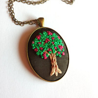 Oval Pendant Tree of Life Necklace, Embroidered Necklace, Statement Necklace