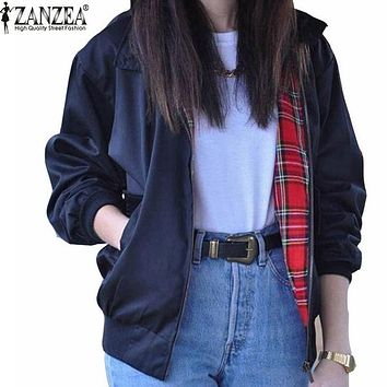 Zanzea Fashion Coats 2016 Autumn Women Casual Outerwear Long Sleeve Tartan Lined Zippered Pockets Bomber Jacket Coat Plus
