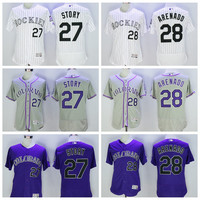 2017 Colorado Rockies Baseball Jerseys 28 Nolan Arenado Jersey New Flex Base 27 Trevor Story Jersey Cool Base Shirts Stitched Logos