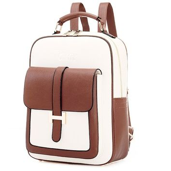 Coofit® Contrast Color Restoring Ancient Ways Leisure Women's Backpack (Beige 2)