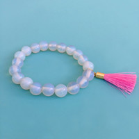 genuine moonstone and tassel power bead bracelet | mala beads | diffuser bracelet
