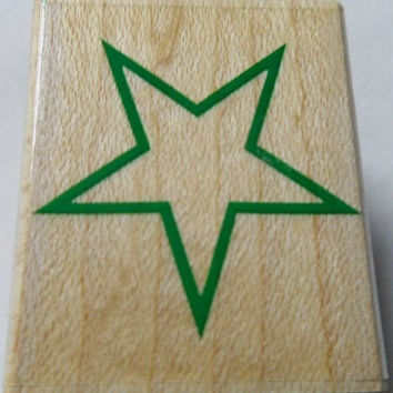 Star outline USED Rubber Stamp Wood Mounted Hero Arts A1567 Scrapbooking Paper Crafting